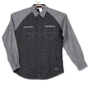 Tranquility & Mayhem Mens Shirt Gray Chambray Size M Medium Long Sleeve