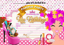 Girls Birthday Party Invitations SPA PARTY, PAMPER MAKEOVER SLEEPOVER x 8 cards