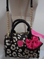 Betsey Johnson Mini Barrel Handbag Purse Bag Crossbody XBody Paw Prints Blk/Wht
