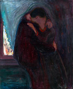 Edvard Munch, The Kiss, 1897, Art Poster, Museum Canvas Print