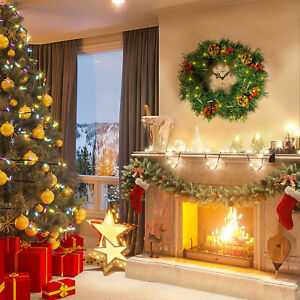 Christmas Wreath Illuminated Garlands with LED Lights 30 cm for Front Door