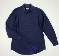 armani jeans camicia uomo usato blu L lisca di pesce shirt manica lunga T5850