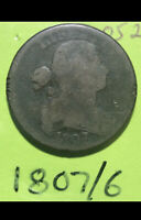 Lot981 1807/6 1cent Draped Bust Large Cent Early American Copper Overdate.