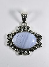"Genuine BLUE LACE AGATE ARTISAN 2"" PENDANT Sterling Silver 925 14.89gr NEW"