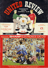 Manchester United v Cambridge United 1991/92 league cup 2nd round 1st leg