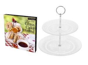 Modena Two Tier Glass Cake Stand Afternoon Tea Sandwich Scones 18cm & 23cm Plate