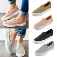 Womens Perforated Round Toe Sneaker Shoes Ladies Slip On Flat Casual Shoes Size