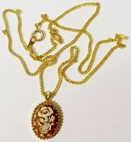 pendentif chaine rétro relief camée motif floral bijou vintage couleur or * 4702