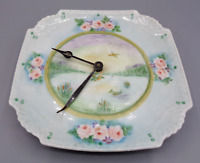 Vintage Hand Painted Plate Clock Porcelain Floral Flower Design Duck Lake Pond