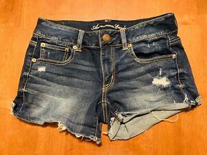 American Eagle High Rise Shortie Super Stretch Jean Shorts Size 6