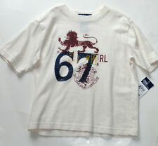 NEUF Ralph Lauren Garçons 4 ans graphique blanc cassé T-shirt authentiques