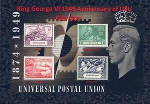 KGVI 1949 NICES DISPLAY OF UNIVERSAL POSTAL UNION ANNIVERSARY GIBRALTAR MINT.