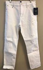 NWT GAP Women's Slim Straight Jeans 30/10R White Destroy #930011