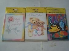 3 VINTAGE WISHING WELL ASSORTED CARD PACKS-THANK YOU, BABY ANNOUNCEMENT & BLANK