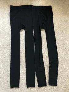 NWOT 2 x Women Black Leggings Spandex UK12 Winter Leggings Warm Inlining