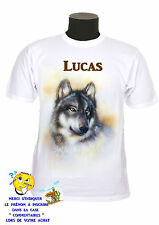 tee-shirt loup personnalisable avec prénom au choix réf 162