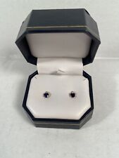 10K Yellow Gold Sapphire Heart with Accent Diamond Earrings