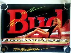 RARE 1991 MISS BUDWEISER RACING BEER PROMO POSTER VINTAGE BERNIE LITTLE BOAT