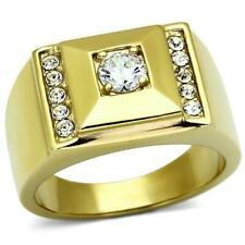 Mens Round Solitaire Diamond Cocktail Ring 14k Yellow Gold finish Size 10