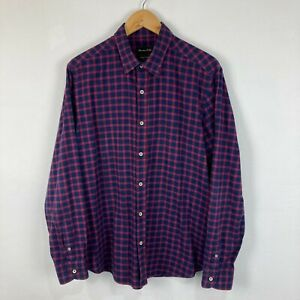 Massimo Dutti Mens Button Up Shirt Size L Blue Red Plaid Long Sleeve Collared