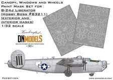 B-24J Liberator Canopy, Windows & Wheels Paint Masks for Hobby Boss #83211 1/32