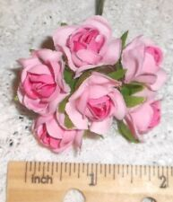 PINK millinery Vintage style 6 silk ROSE fabric flowers pick ALEXANDER dolls