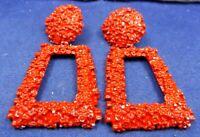 Vintage Costume Earrings Runway Style Large Heavy Red Enamel Pierced Dangle
