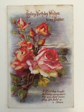 Vintage Postcard - Greetings - Birthday Wishes To My Sister - WALL Kidderminster