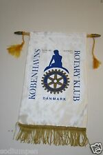 Vintage Kobenhavs Danmark Rotary International Klub Club Wall Hanging Banner