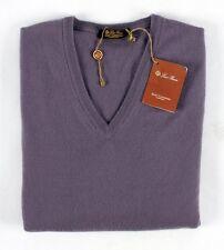 $1195 NWT - LORO PIANA 100% BABY CASHMERE Scollo V-Neck Sweater - Purple - L XL