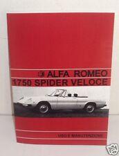Uso e manutenzione Alfa Romeo 1750 Spider Veloce Owner's manual