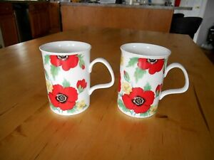 (2) ROY KIRKHAM MONET MUGS / CUPS w/ RED POPPIES - 1992 England Fine Bone China