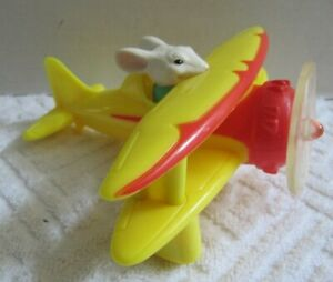 """One (1) STUART LITTLE Mouse in Yellow Airplane Wendy's 2002 Meal Toy 4-1/2"""""""