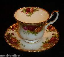Antique Royal Albert OLD COUNTRY ROSES Tea Cup & Saucer FIRST MARK Bone China
