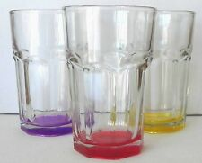 Fine Vintage Collectible Libbey Gibraltar 8 oz.Glasses Different Coloured Bases