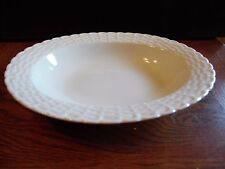 Tienshan White Porcelain Basket Weave Design Oval Serving Vegetable Bowl