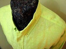Alan Flusser neon green 100% Linen button down casual L/S shirt XL MINT