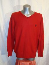 Men's LYLE & SCOTT SCOTLAND red knitted V necked lambswool jumper sz M great co