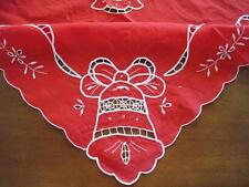 Pretty X'mas Bell Ribbon Embroidery Hand Hemstitch Cotton Table Cloth Red