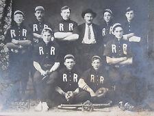 "ANTIQUE 1900 s BASEBALL TEAM "" RR "" RAILROAD? FOUND MILWAUKEE WI BAT BALLS PHOTO"