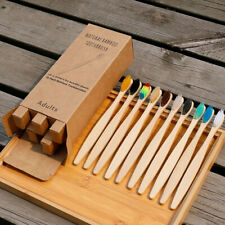 10Packs Bamboo Toothbrush Biodegradable Natural Wooden Eco Medium Soft Bristles