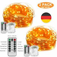 2x 100 LED Kupferdraht Batterie Lichterkette Silberdraht Mit Timer Fernbedienung