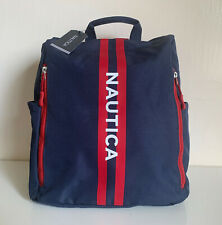 NEW! NAUTICA JESTER LOGO INDIGO BLUE / RED NYLON BACKPACK BAG $89 SALE