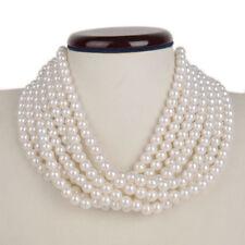"Kalse 7 Layers Strands White Pearl Beads Choker Chunky Bib Necklace 14""-16.5"""