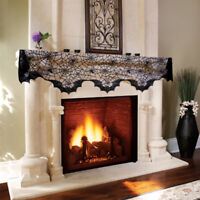 Black Lace Spider Web Fireplace Mantle Scarf Cover for Halloween Decor Haunted