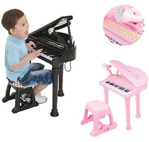 Childs Electronic Keyboard Grand Piano Musical Toy Microphone,Stool_Imperfect