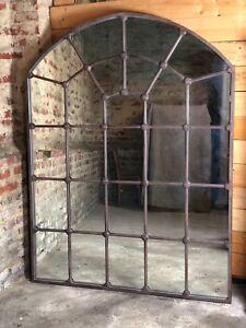 Glace / miroir style atelier cintré en fer forgé haut 180 cm