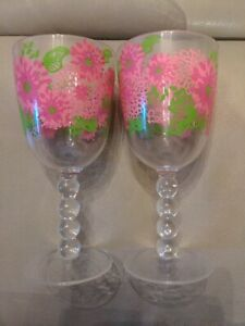 Lilly Pulitzer Pink Floral Flowers Plastic Acrylic Wine Glass Set of 2