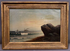 Antique SEASCAPE Old ROCKY COAST Old STEAM SHIP & SAILBOAT Shore PAINTING Frame