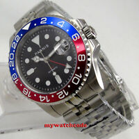 40mm PARNIS black dial pepsi bezel date Sapphire glass GMT automatic mens watch
